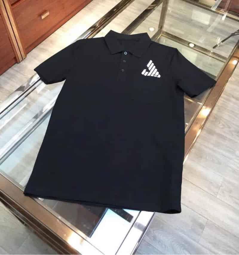 阿玛尼Armani 2018专柜最新版翻领定制螺纹修身立体裁剪短袖T恤