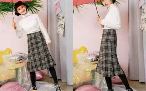 半身裙搭配黑色打底袜,春天这样搭超显瘦!