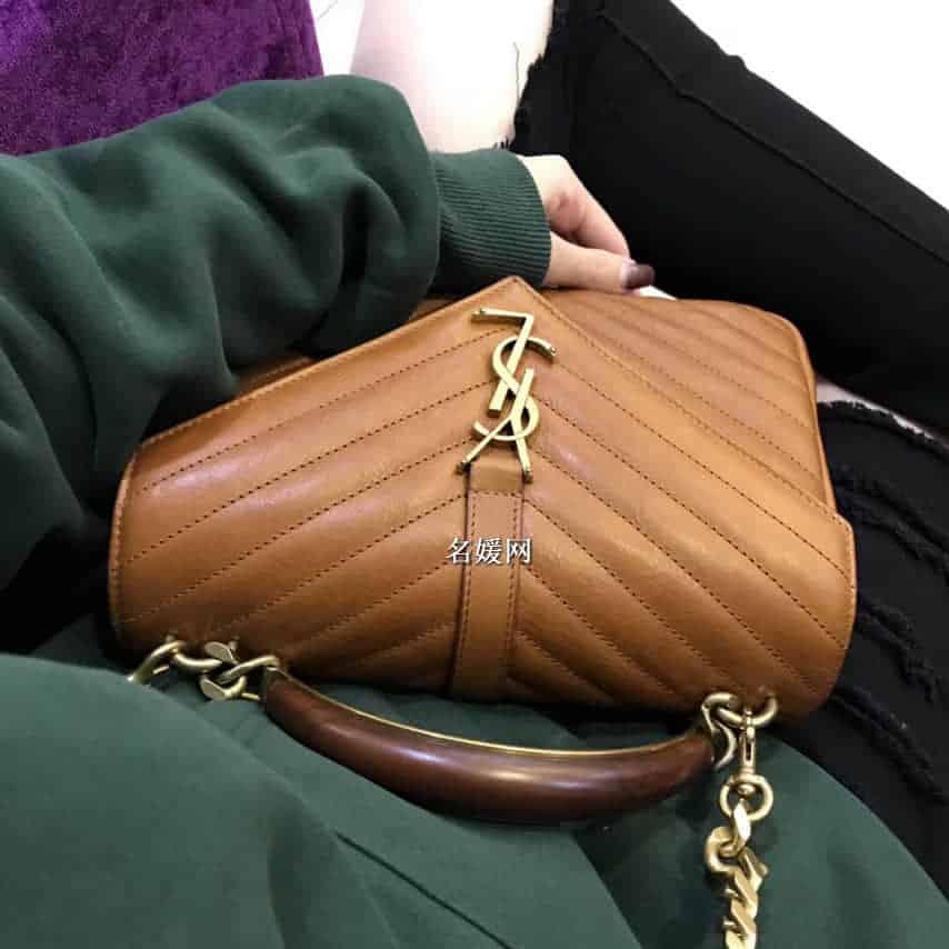 圣罗兰YSL / SAINT LAURENT 木质配金属手柄 邮差包 500839咖色