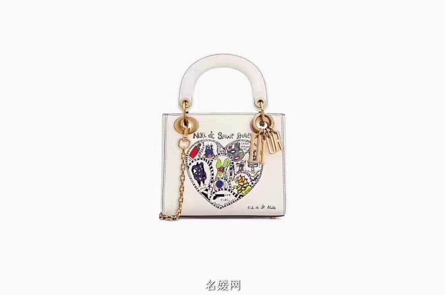 迪奥Lady Dior 抽象爱心涂鸦印花戴妃包 17/24CM