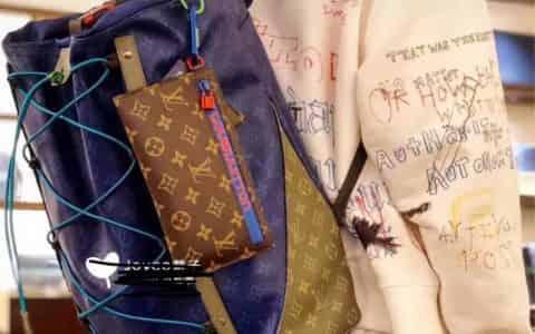 LV/路易威登 18ss新款 抽绳装饰 蓝色Backpack Outdoor双肩包 M43833