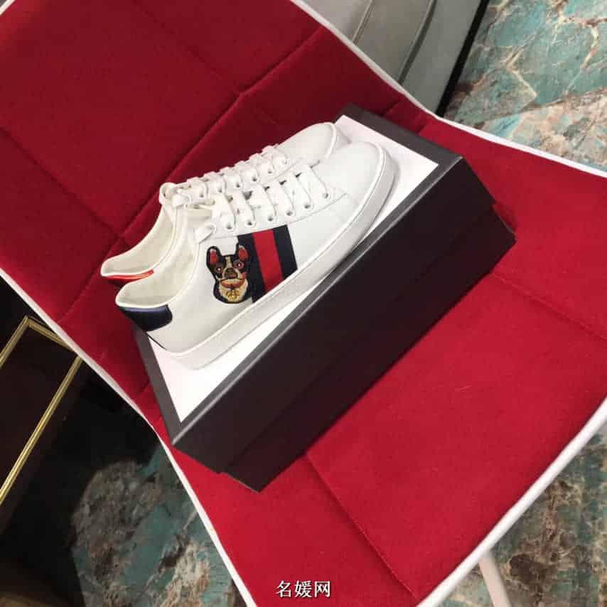 古奇/gucci Ace女士系列 波士顿梗犬小狗刺绣图案运动小白鞋501908