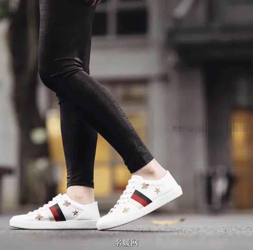 古奇/gucci  18ss新款 Ace系列饰蜜蜂和星星运动小白鞋498205