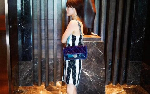 香奈儿/ Chanel 18新款 深蓝 果冻包 28CM