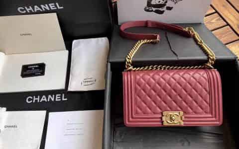 香奈儿/Chanel 18新款 正品尾皮 西柚红小羊皮沙金扣boy女包 67086