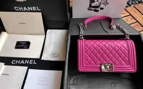 香奈儿/Chanel 18新款 正品尾皮 桃红小羊皮亮银扣boy女包 67086