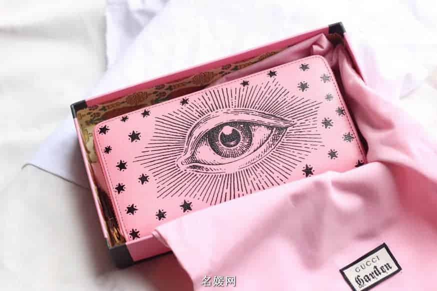 Gucci /古奇 博物馆系列 GG Garden天使之眼印花牛皮拉链钱包 516936