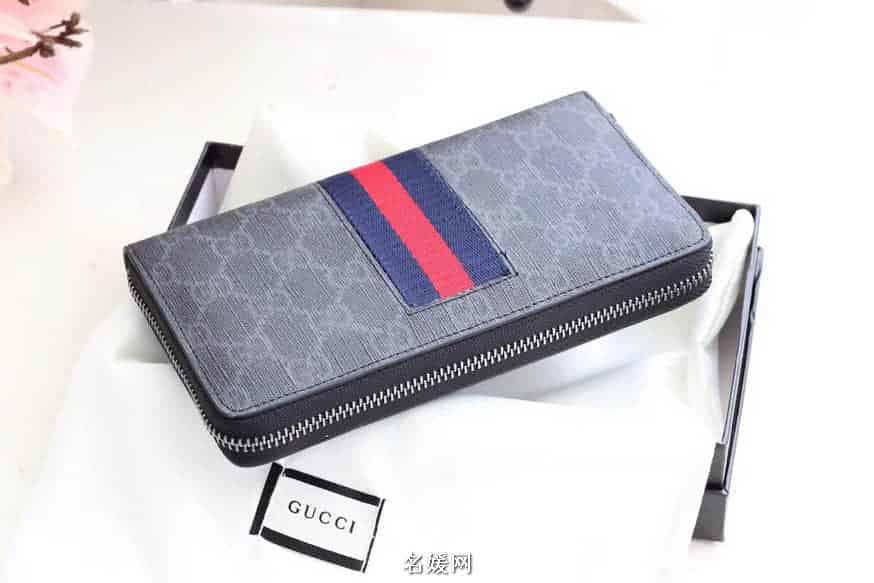 Gucci/古奇 GG Supreme Web 织带装饰pvc拉链钱包 408831