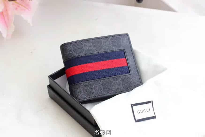 Gucci/古奇 GG Supreme Web织带装饰pvc防水料短款钱包短夹 408827