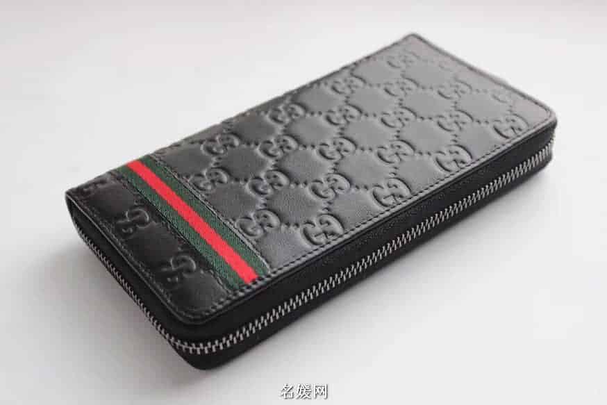 Gucci/古奇 GG Signature 织带装饰压花牛皮拉链钱包 308009