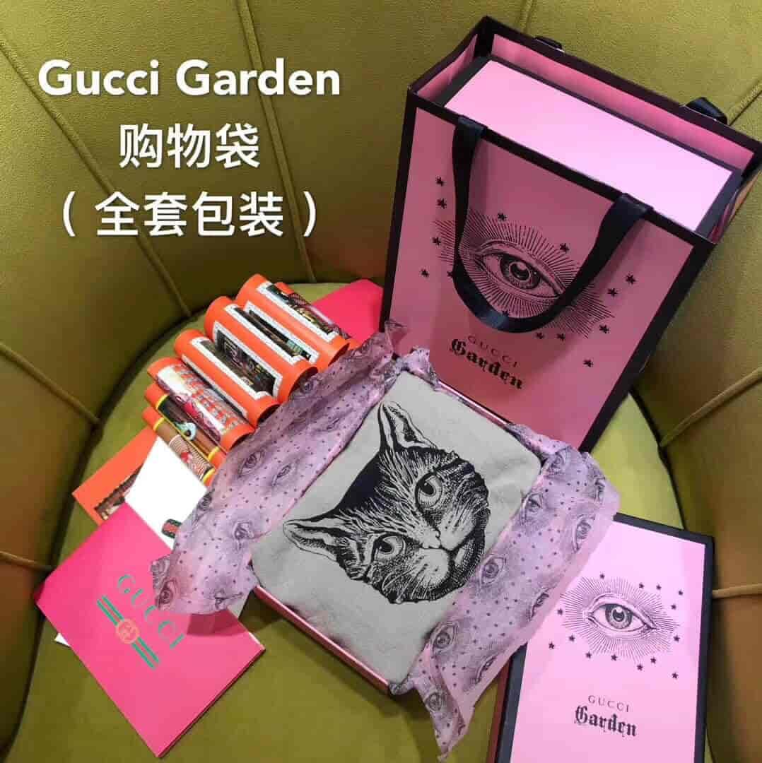 Gucci/古奇 18新款限量版 Garden喵咪麻布购物袋