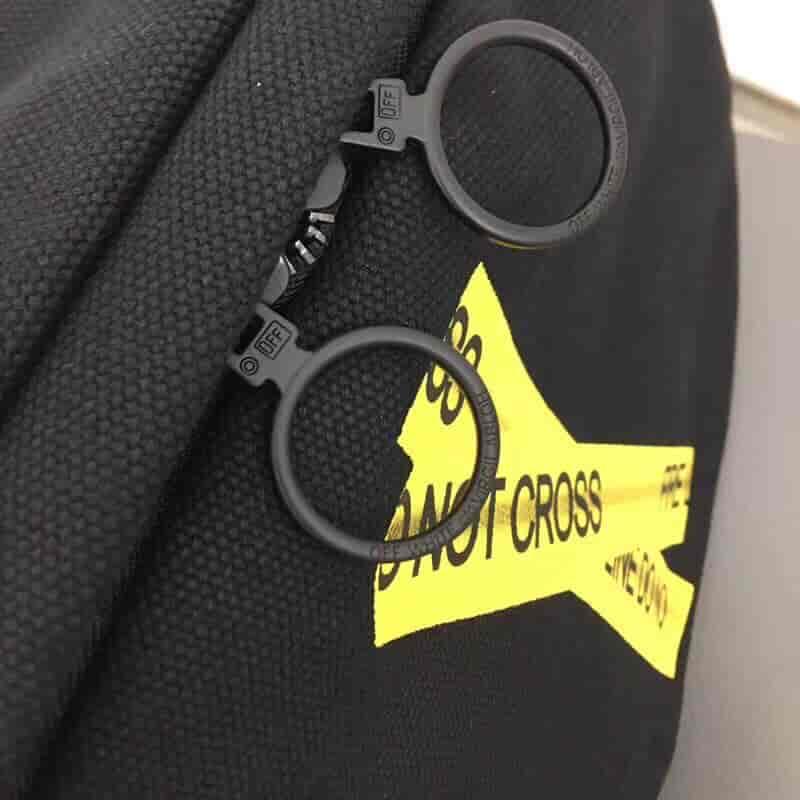 OFF-WHITE C/O VIRGIL ABLOH OW 18SS 黄条纹警戒线双环背包书包