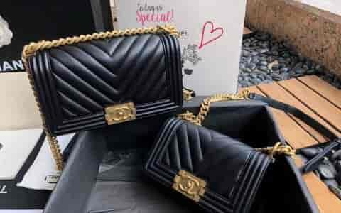 Chanel/香奈儿 18新款 黑色小牛皮V型金扣链条单肩包斜挎包 67086