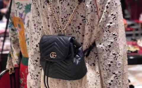 Gucci/古奇 18新款 GG Marmont系列绗缝背包双肩包 528129