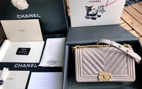 Chanel/香奈儿 18新款GR正品尾皮浅卡其小牛皮沙金扣V型单肩斜挎包