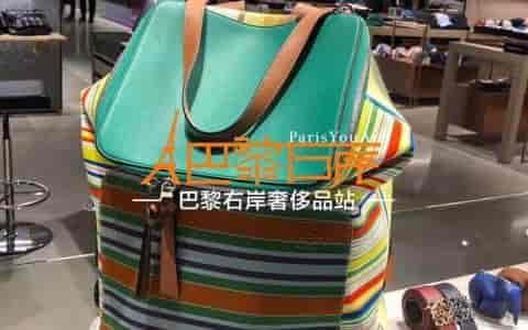 LOEWE/罗意威 18新款彩色薄荷条纹Goya backpack帆布双肩包