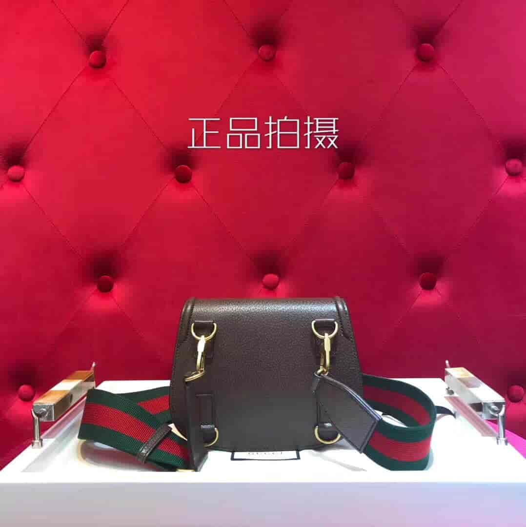 Gucci/古奇 2018新款Lady Web虎头金属装饰马鞍包 495663