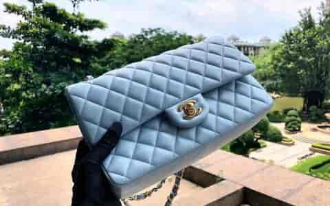 Chanel香奈儿 cf25cm 菱格链条包 单肩斜挎包 女包 中号《冰川蓝》