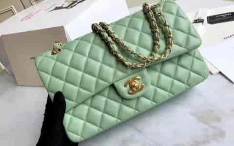 Chanel香奈儿cf25cm菱格链条包 单肩斜挎包 女包 中号《马卡龙绿》