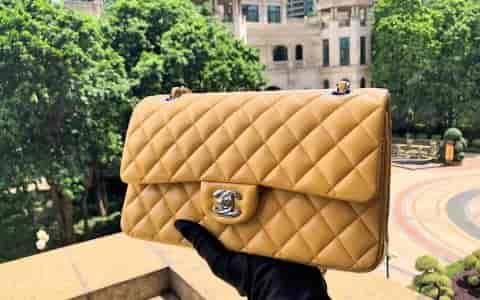 Chanel/香奈儿 新款CF25cm中号女士羊皮单肩斜挎包《鹅黄》