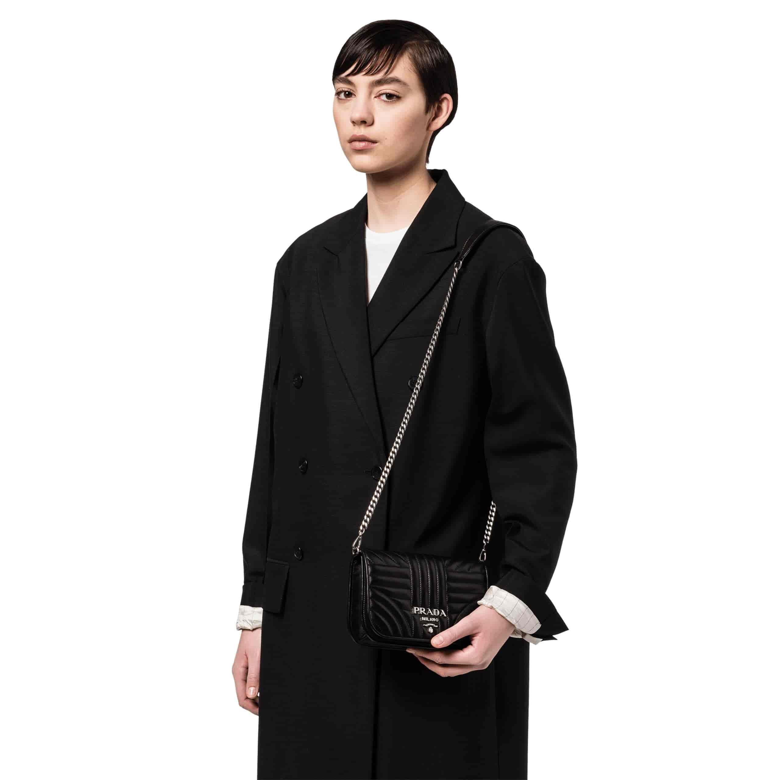 普拉达/Prada 18新款 Diagramme 小羊皮单肩包 1BP013