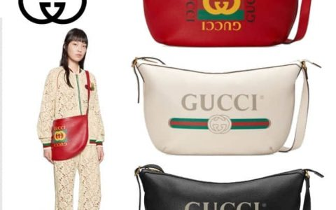 Gucci/古奇GG Print half moon hobo bag半月包 523588