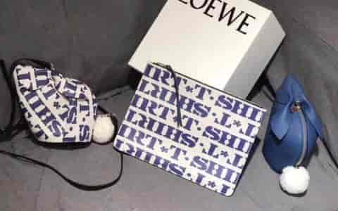 LOEWE/罗意威 Medium Flat Pouch T Shirt 字母手拿包