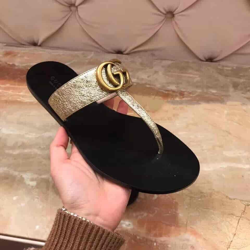 Gucci/古奇 18年春夏新款双G造型皮革夹趾凉鞋 497444