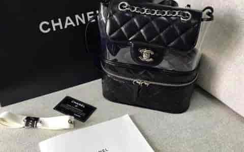 Chanel香奈儿18年新款pvc塑料胶片透明双肩背包