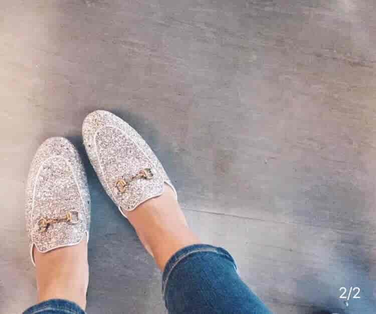 Gucci/古奇18年新款杨幂同款Princetown银色亮片闪光拖鞋