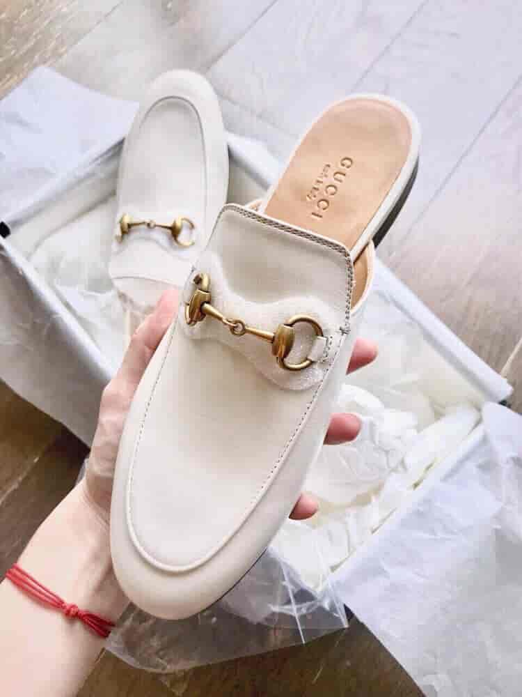 Gucci/古奇18年新款Princetown系列白色拖鞋 423513