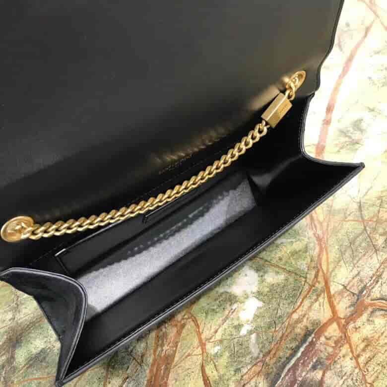 圣罗兰ysl KATE 中号棕色饰钉黑色麂皮链条包 364051
