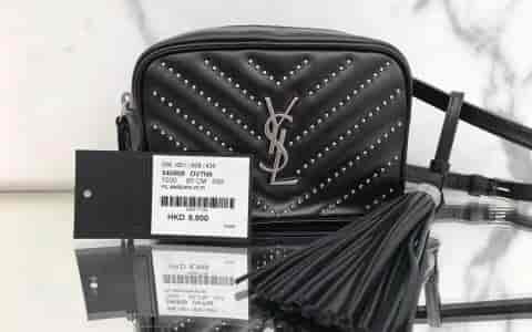 圣罗兰ysl Lou 黑色绗缝真皮饰钉腰包 540809