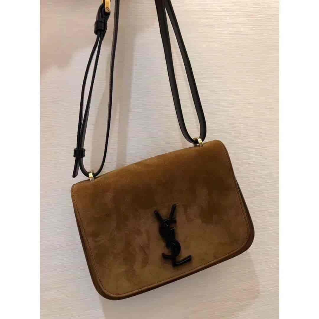 圣罗兰ysl SPONTINI小号棕色磨砂皮Box挎包 512853