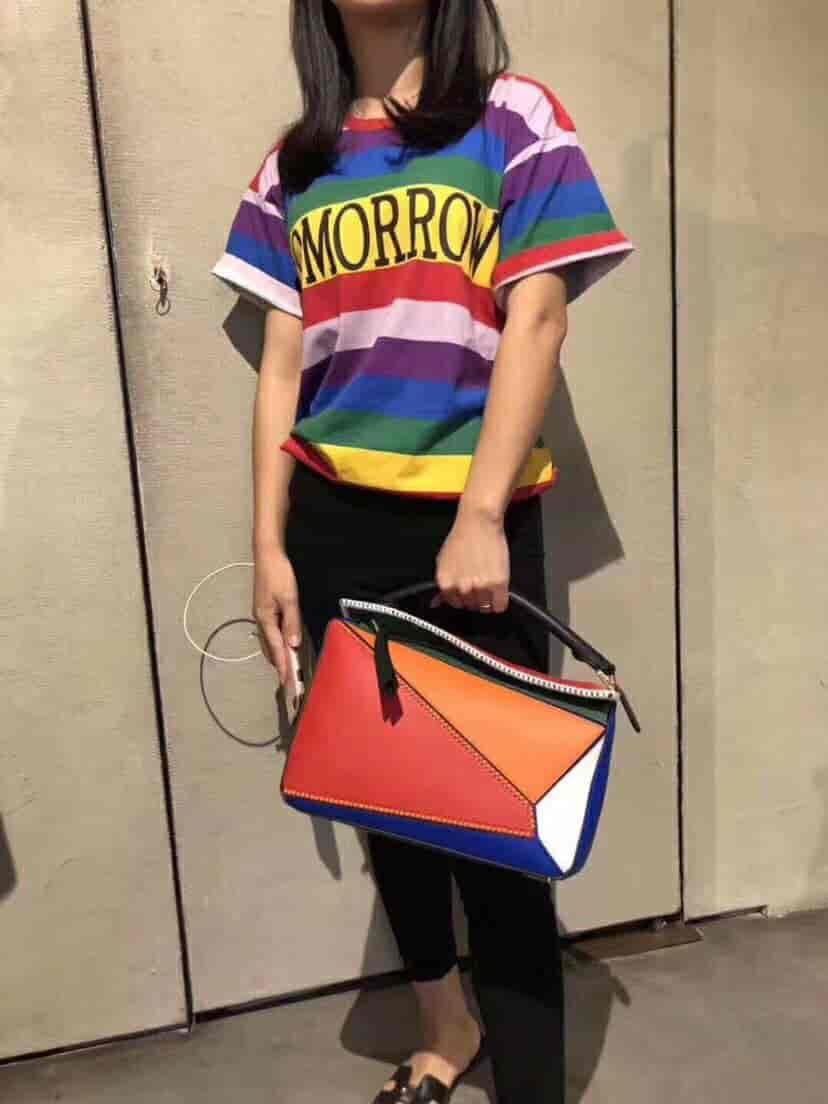 LOEWE/罗意威 2018ss新彩虹拼色Puzzle几何包