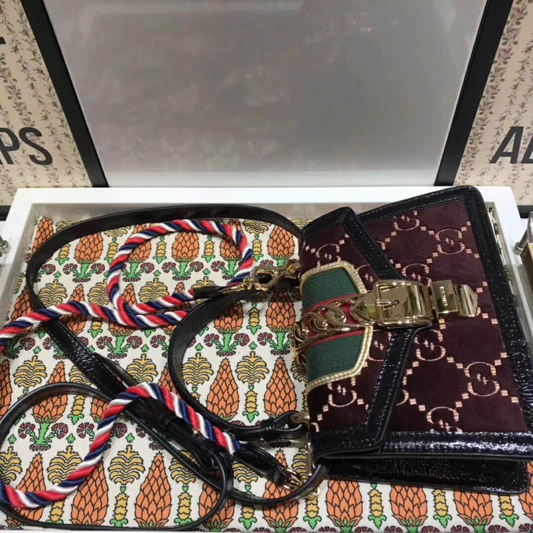 Gucci/古驰 Sylvie GG velvet mini bag 470270