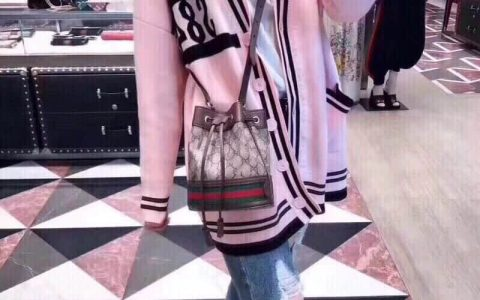 Gucci/古驰Ophidia nano红绿条纹织带帆布小水桶包550620