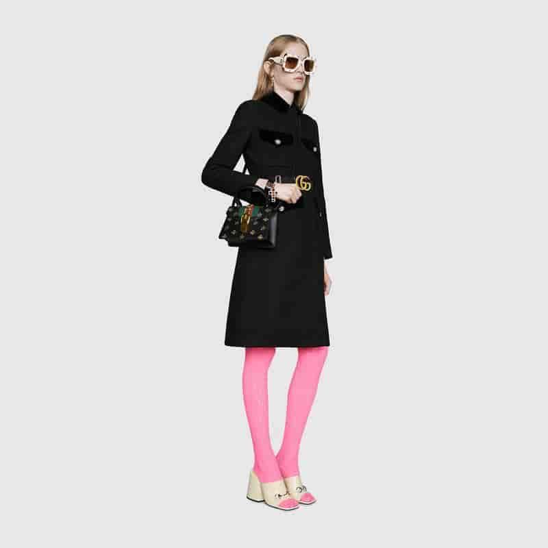古驰/Gucci Sylvie饰金色蜜蜂和星星印花迷你手袋470270