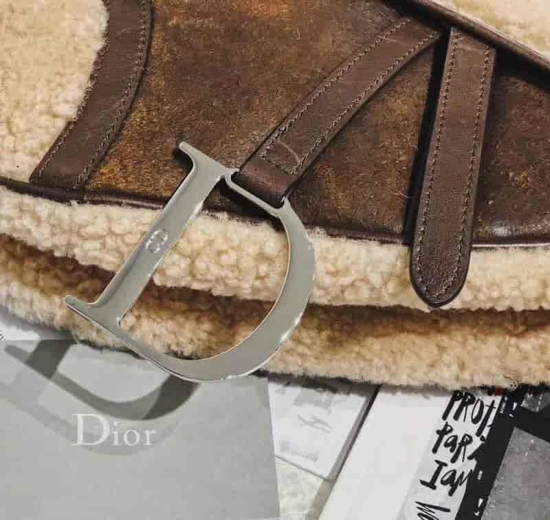 迪奥/Dior Vintage Saddle bag羊羔毛马鞍包