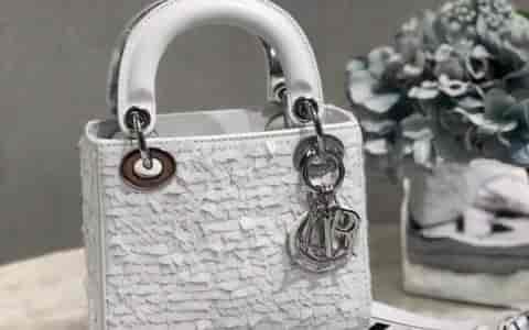 迪奥/Dior Lady mini 雪花珠绣手提包