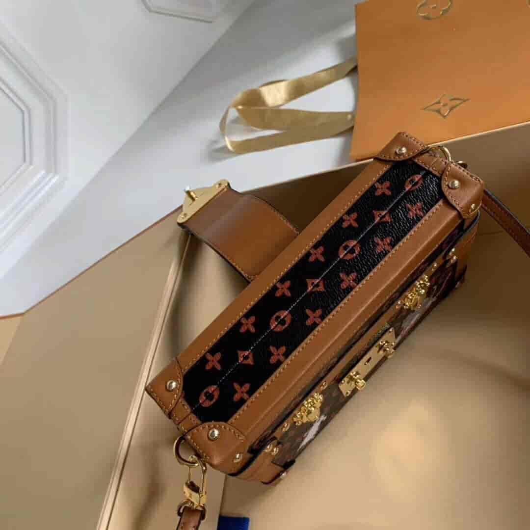 LV路易威登 18新款猫咪图案复古老花盒子包PETITE M44407