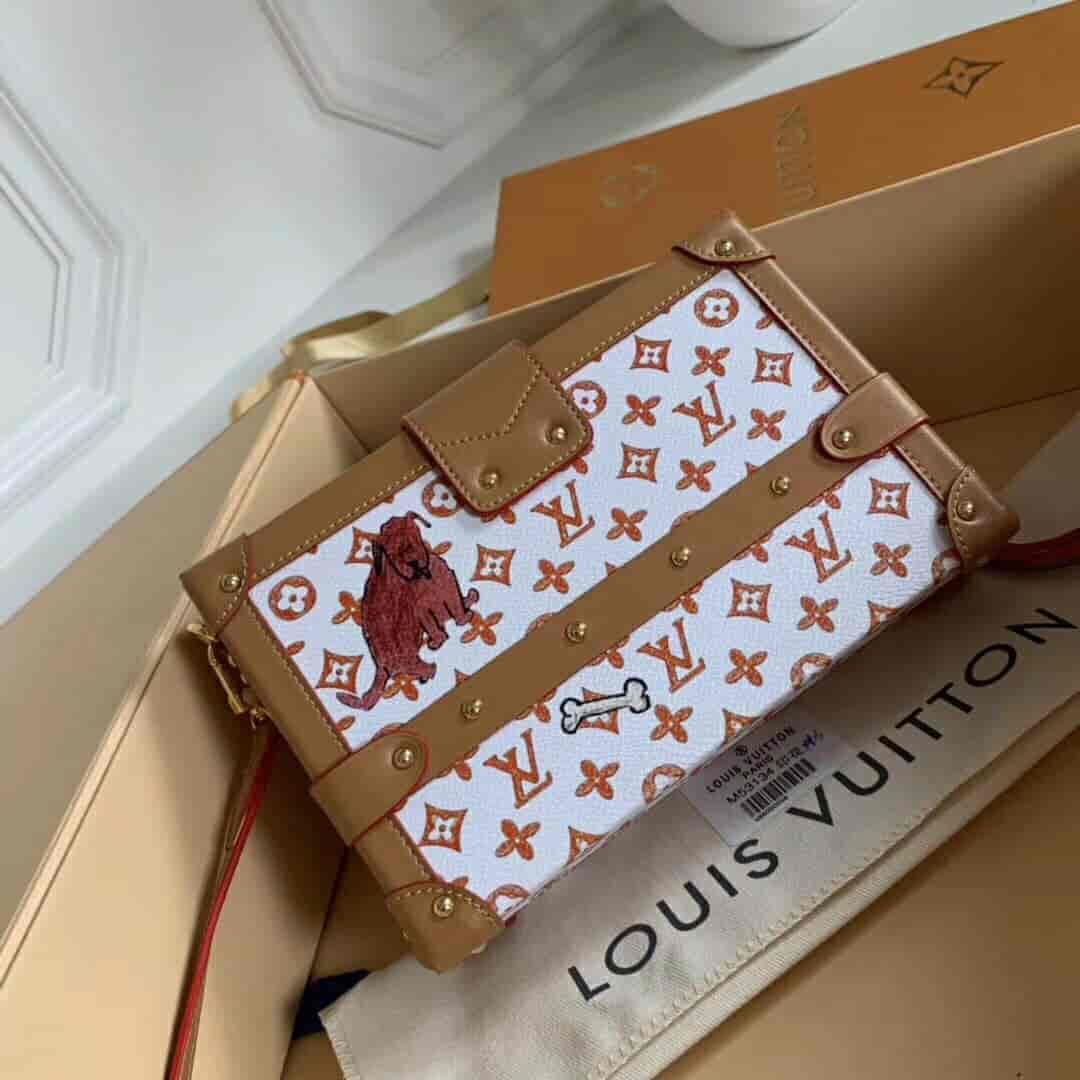 LV路易威登女包 18新款限量猫咪图案复古盒子包PETITE M44461