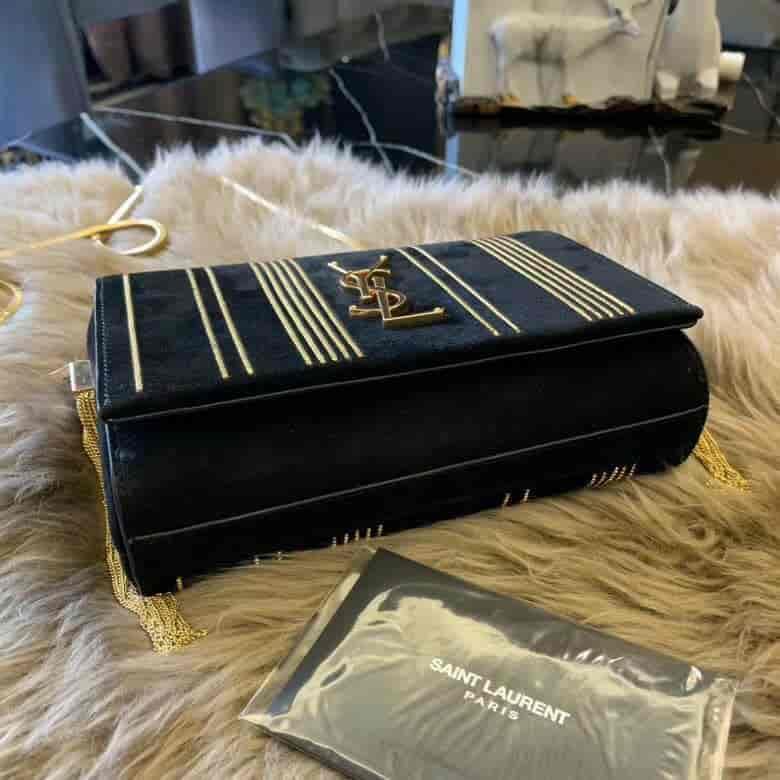 YSL/圣罗兰 KATE 小号黑色麂皮金色链条包 539213
