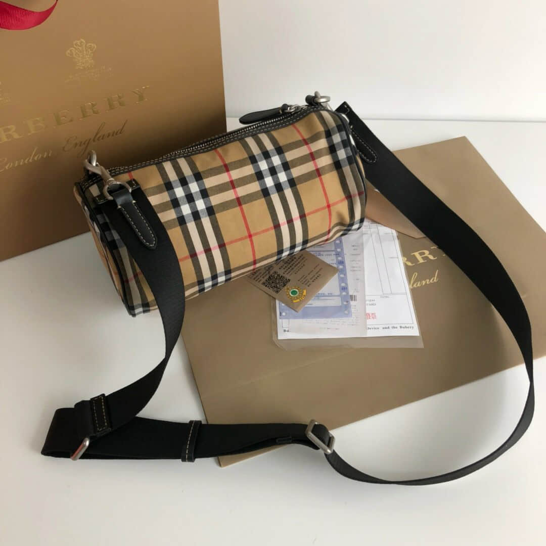 巴宝莉/Burberry The Barrel - 小号 Vintage 格纹拼皮革巴瑞尔包