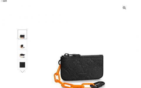 LV M67452 黑色全皮压花橙色链条零钱包/钥匙包