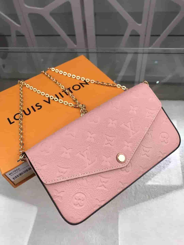 LV M67856 樱花粉FELICIE信封包三件套链条钱夹包