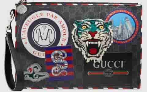 Gucci Night Courrier系列高级人造帆布手拿包 496346