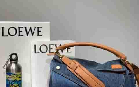 Loewe/罗意威 小牛皮拼牛仔布Puzzle牛仔布几何包