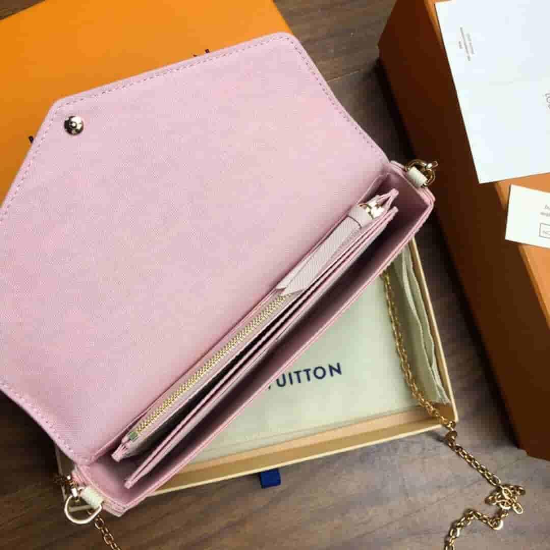 LV FELICIE 白棋盘格 拼皮 粉色 三合一 信封包 N60235