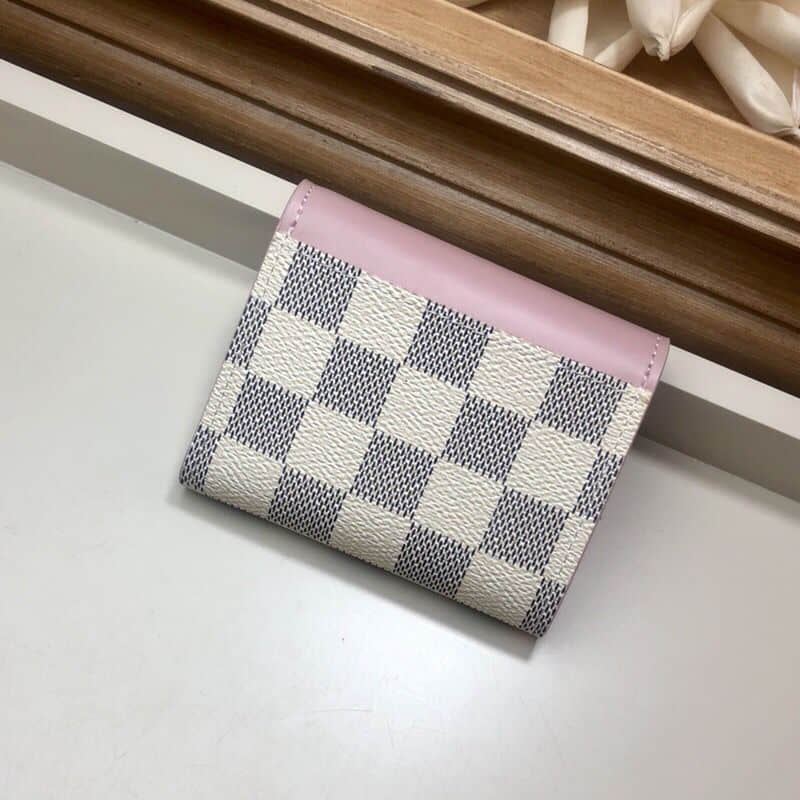 LV N60168 粉色拼白格Zoe钱夹